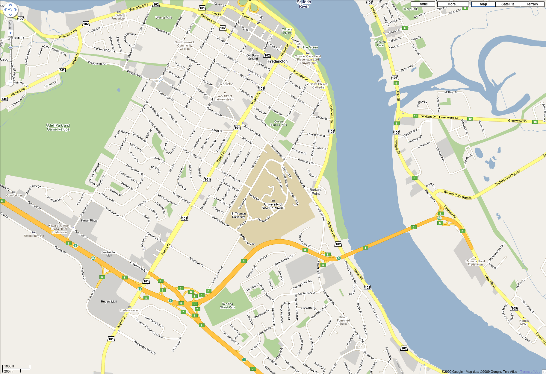 Fredericton NB Map